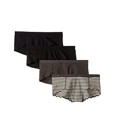 PACT Everyday Organic Cotton Boyshorts 4-Pack (Black/Charcoal Stripe/Charcoal Grey) Women