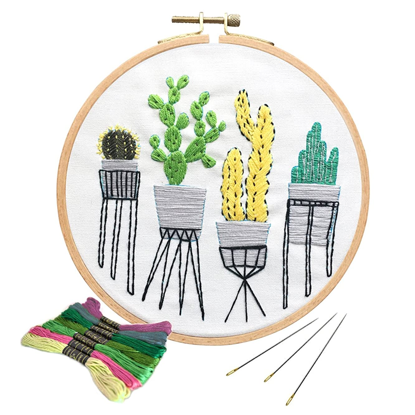 Unime Full Range of Embroidery Starter Kit with Pattern, Cross Stitch Kit Including Embroidery Cloth with Color Pattern, Bamboo Embroidery Hoop, Color Threads, and Tools Kit (Cactus)