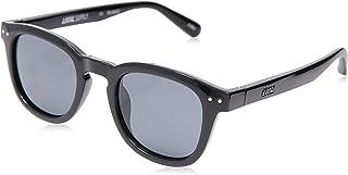 Local Supply Men's AVENUE Polarized Sunglasses - Dark Grey Tint Lens, Gloss Black Frames