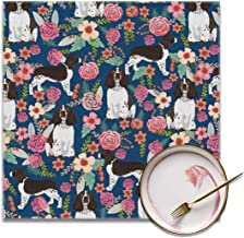 Placemats English Springer Spaniel Floral Square 12 x 12 Inch Washable Table Mats for Kitchen Dinning Set of 4