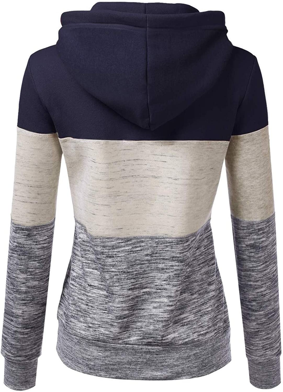 Fannyfuny Hoodie Pullover Damen Herbst Winter Kapuzenpullover Sweatshirt Winterpullover Langarm Jacke mit Kapuze Mantel Tops Outwear 08blue