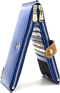 ANDOILT Donna Pelle Vera Portafoglio RFID Blocco Carta di Credito Titolare Cerniera Portamonete Cellulare Borsetta Blu