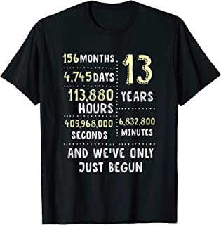 13 Years Anniversary T-Shirt Gift for Her or Him