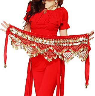 Wuchieal Women's Sweet Bellydance Hip Scarf With Gold Coins Skirts Wrap Noisy Belt
