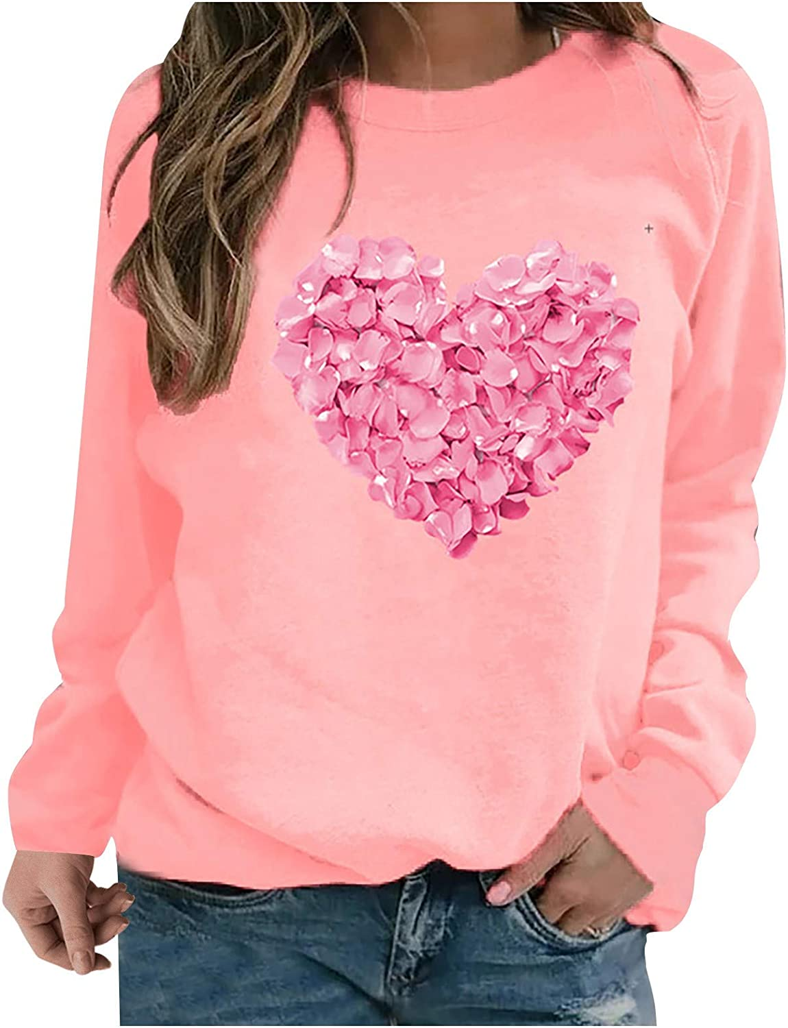 Fekuit Womens Pullover Sweatshirts Long Heart Sleeve safety Sweat Print Max 51% OFF