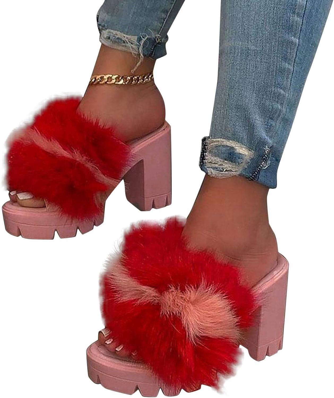 Xudanell Sandals for Women Block Heeled Chunky Heels Sexy Fury Open Toe Platform Slides Cute Summer Dressy Womens Sandals