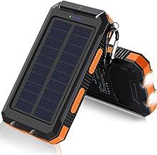 Solar Charger, F.Dorla 20000mAh Portable Outdoor Waterproof Solar Power Bank, Camping External Backup Battery Pack Dual 5V...
