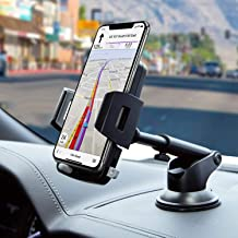 Amoner Car Phone Mount, Cell Phone Holder for Car Dashboard Windshield Compatible with iPhone 11 Pro/XS Max/XR/X 8/7/6 Samsung Galaxy S10 S9 S8 and Other Smartphones up to 6.5 inches, Black Gray