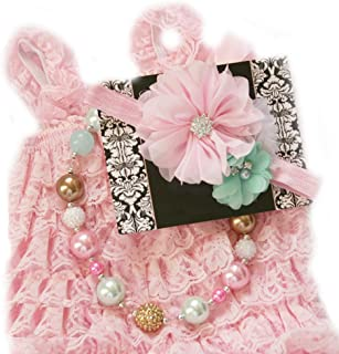 Baby Girl Lace Romper Set Baby Birthday Outfit Photo Prop (6-13months, Pink, Mint and Aqua)
