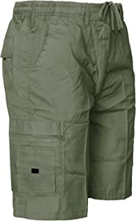 9b301f3151 MENS ELASTICATED WAIST SHORTS CARGO COMBAT 6 POCKETS SUMMER BEACH COTTON  PANTS