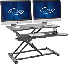 Standing Desk Converter 32 Inches -Aludest Stand Up Desk Riser Height Adjustable Home Office Desk with Deep Keyboard Tray ...