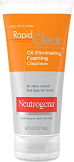 Neutrogena Rapid Clear Oil-Eliminating Foaming Facial Cleanser For Oily and Acne-Prone Skin, Removes Pore-Clogging Dirt and Controls Shine, Oil-Free and Non-Comedogenic, 6 fl. oz