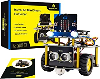 KEYESTUDIO BBC Micro:bit Robot Car Kit with Obstacle Avoidance, Light-tracing, Line-Tracking, Remote Control, 1.5 Version ...