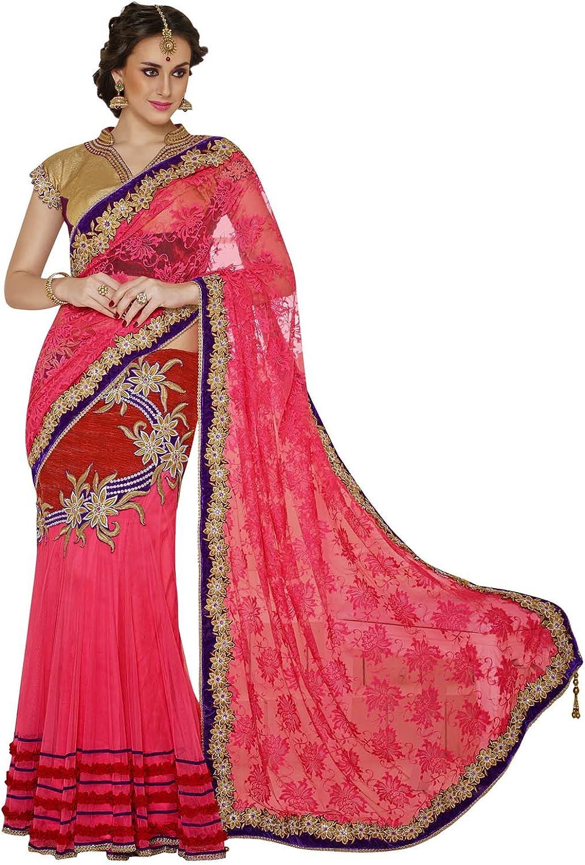 INMONARCH Womens Reddish Pink Net Jacquard Lehenga Style Saree SSA3427