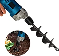 """EEEKit Auger Drill Bit, Garden Plant Flower Bulb Auger Rapid Planter Bulb & Bedding Plant Auger for 3/8"""" Hex Drive Drill Earth Auger Drill Fence Post Umbrella Hole Digger(1.8x15 in/4.6 x37 cm)"""