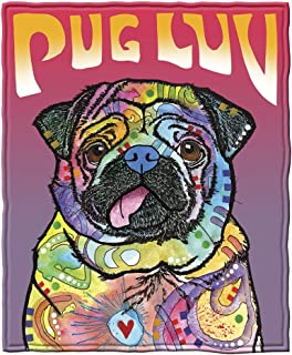"""Dawhud Direct Super Soft Full/Queen Size Fleece Blanket by Dean Russo, 75"""" x 90"""" (Pug Luv)"""