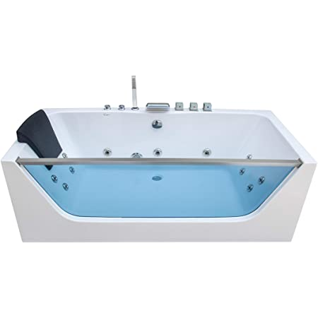 1 Person Computerized Massage Hydrotherapy Right Corner White Bathtub Tub Whirlpool With Bluetooth Remote Control Inline Water Heater And 17 Total Jets
