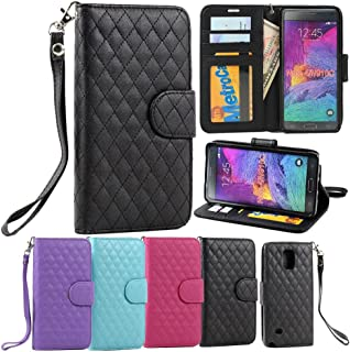 For Samsung Galaxy Note 4 Premium Magnetic Flip Diamond Quilted Pattern TPU Leather Wallet Stand ID Holder Credit Card Case Cover w Strap View Window (Black)