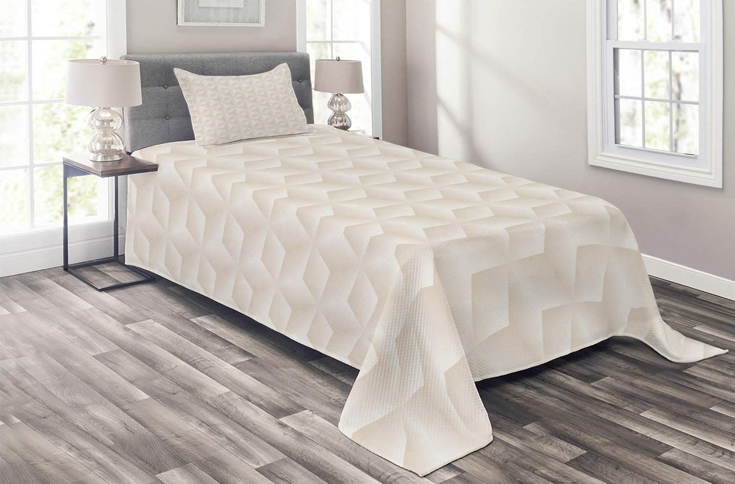 Ambesonne Ivory Coverlet Credence 35% OFF Geometric Diamond Continuous Diagonal