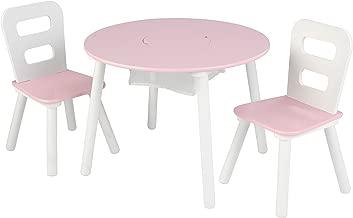 KidKraft Wooden Round Table & 2 Chair Set with Center Mesh Storage - Pink & White