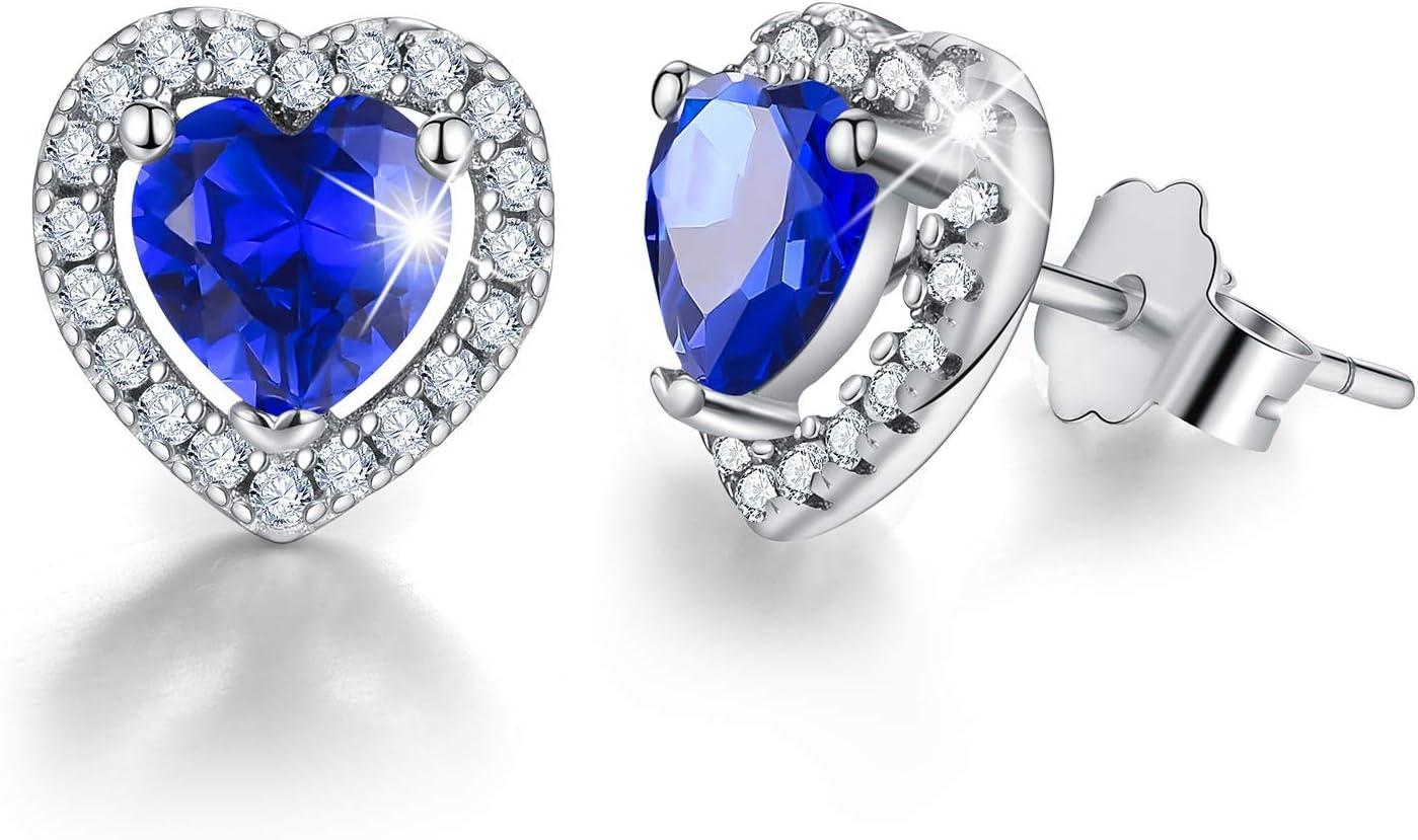 WXJLYZRCXK Earrings18K Gold Plating 925 Sterling Sier Birthstone Love Heart Stud Earrings Cubic Zirconia Hypoallergenic Earrings Birthday Gift for Women and Girls,September-Sapphire