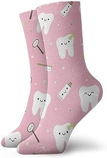 Elsaone, Niños Niñas Loco Divertido Dientes dentales Pasta de dientes Tela Calcetines rosas Calcetines lindos del vestido de la novedad