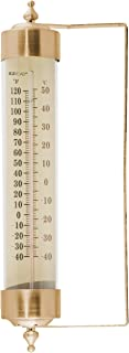EZRead Headwind Consumer Products 840-0083 Premium Metal and Glass Vertical Thermometer, Antique Brass