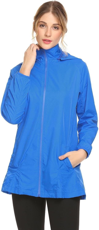 Women's Waterproof Rain Jacket Outdoor Windbreaker Jacket Sports Coat SXXL (bluee, Small)