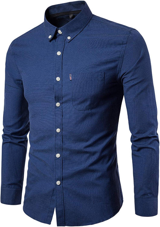 Camisa Casual de Negocios para Hombres Color sólido Sencillez Cómoda Trabajo de Oficina Camisas de Manga Larga de Gran tamaño con Bolsillo Lateral