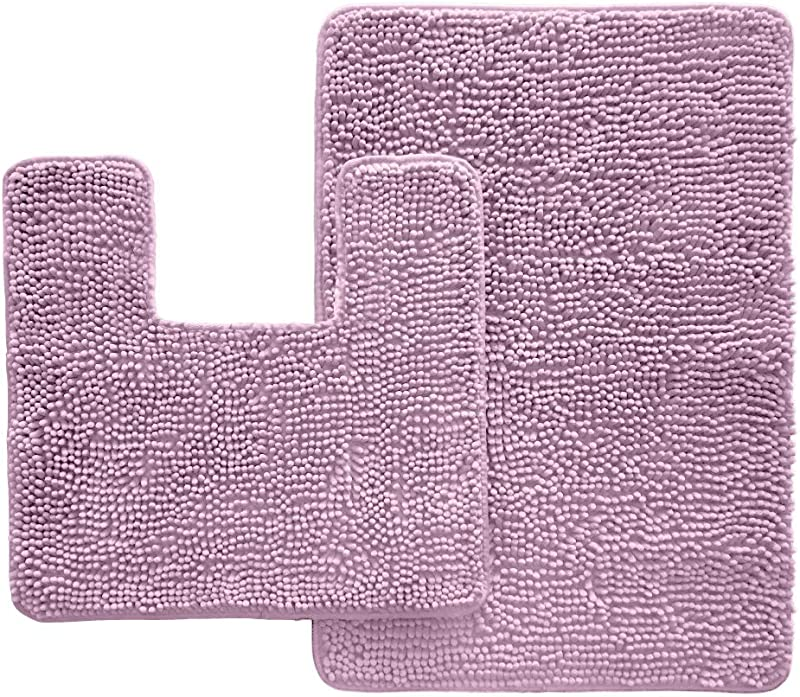Kangaroo Original Shaggy Chenille Bathroom 2 Piece Rug Set Includes Contour Toilet Mat And 30x20 Carpet Mat Washable Mats Absorbent Plush Rugs For Kids Tub Shower And Bath Room Purple