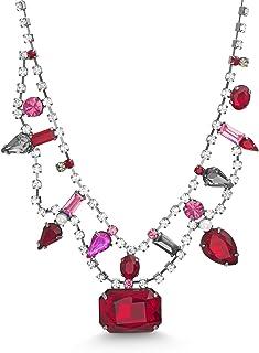 Steve Madden Women's Red and Pink Multi Shape Rhinestone Gunmetal-Tone Collar Necklace