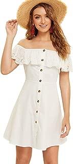 Women's Off The Shoulder Button Up Summer Flounce Trim Denim Dress