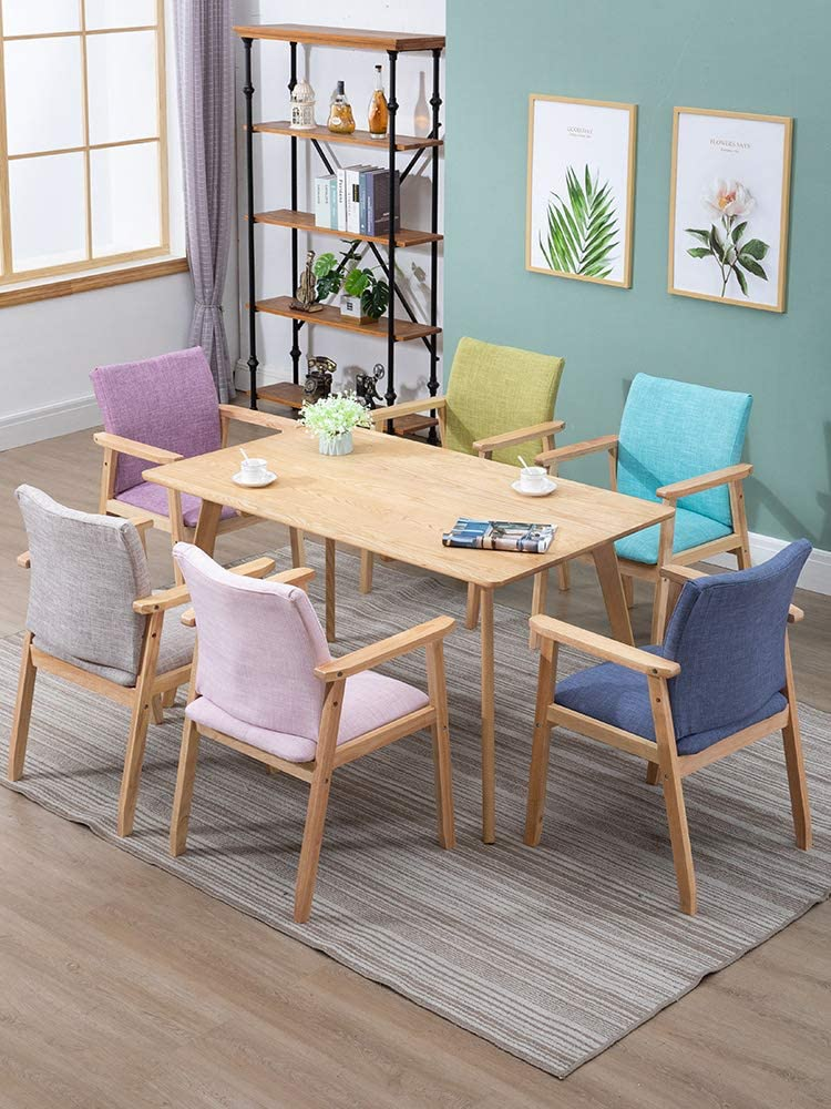 Chaise De Salle À Manger en Bois Massif avec Coussinet en Éponge Souple Et Accoudoir,Nordic Minimalist Home Lounge Chair pour Le Salon Wood Color+purple