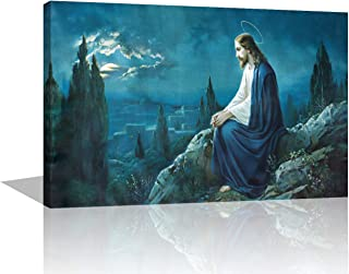 """TUMOVO Arnold Glenn Jesus Sitting Alone in Gethsemane Canvas 1 Panel Wall Art Prints Photo Modern Paintings Home Decoration Giclee Artwork Wood Frame Gallery Stretched Ready to Hang (20""""X40"""")"""