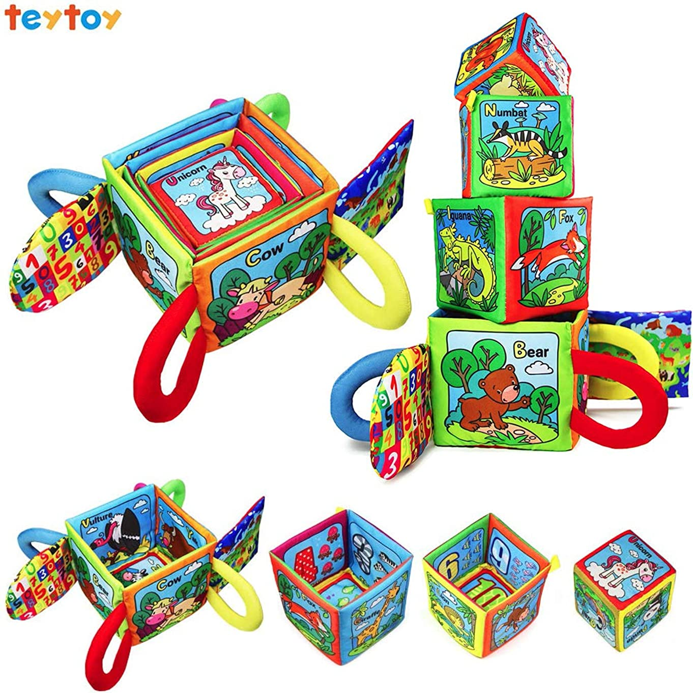 teytoy Baby Toys Cotton Animals Magical Stacking Blocks with Soft Rattle for Over 8 Months