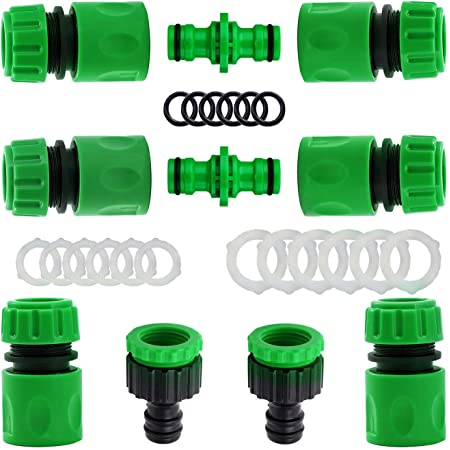 """10 Pack Plastic Garden Hose Tap Connector Kit for Join Garden Hose Pipe Tube(2 Double Male Connector,6 Hose 1/2""""End Quick Connect,2 Hose Tap Connector 1/2 Inch(21mm)and 3/4 Inch (26.5mm)Size 2-in-1)"""