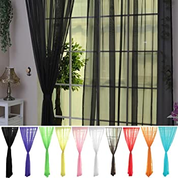 CN/_ EG/_ Door Window Curtain Floral Tulle Voile Drape Panel Sheer Scarf Valance