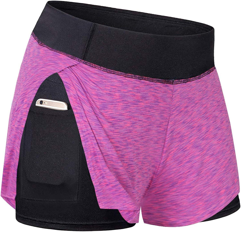 LASLULU Womens Workout Running Shorts Double Layer Yoga Athletic Shorts Elastic Waist Sports Shorts with Pockets