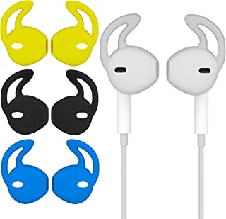 EEar Hook Tips Anti-Slip Covers Soft Silicone Replacement Earbuds Sport Accessories (Yellow, Black, Blue, Clear) 4 Pairs