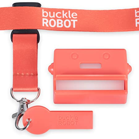 Premium Buckle Robot Seat Belt Cover Guard with Release Key & Lanyard - Helps Keep Kids & Disabled Adults Safely Buckled Up - Universal Fit for Peaceful Auto Journeys – Strong Safe Durable (Red)