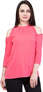 American-Elm Pink Cold Shoulder Top for Women