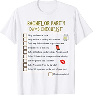 Bachelor Party Checklist | Grooms Stag Night Fun Dares Game T-Shirt