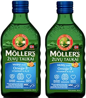 Moller's Fish Cod Liver Oil with Omega 3. Vitamins A. D & E. Fruit Flavour 250 Ml Liquid Supplement Extra Pure High Quality Made in Norway x 2 Bottles