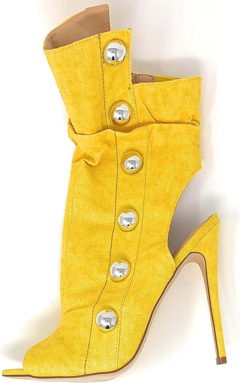 Liliana Women's Open Toe Classy Style Stiletto Heel Open Back Ankle Bootie Darcey-2