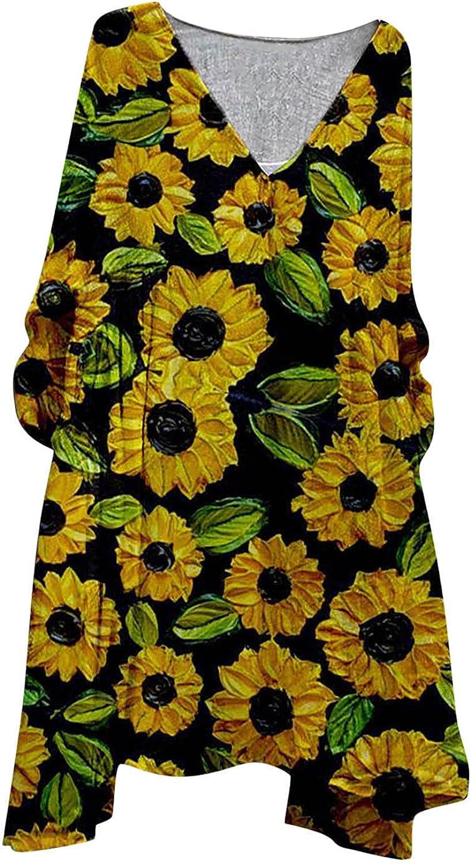 Zldhxyf Drcuken - Camiseta de manga corta para mujer, cuello en V, holgada, estilo retro, con estampado de flores, estilo informal