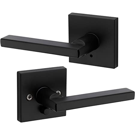 Kwikset 91550-029 Halifax Door Handle Lever with Modern Contemporary Slim Square Design for Home Bedroom or Bathroom Privacy in Iron Black