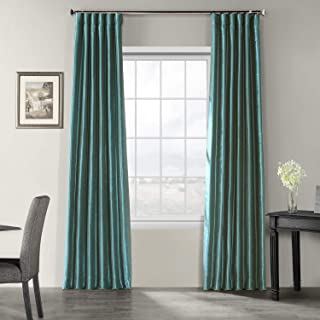 Half Price Drapes PDCH-KBS14-96 Vintage Textured Faux Dupioni Silk Curtain, 50 x 96, Peacock