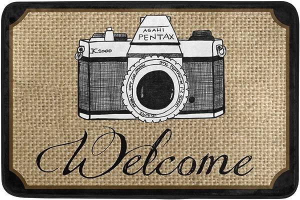 Naanle Entrance Doormat Camera Welcome Indoor Door Mat Non Slip Doormat 23 6 By 15 7 Inch Interlayer Polyester Machine Washable Polyester Fabric