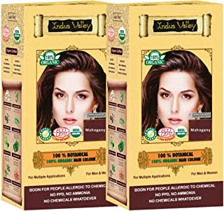 Indus valley 100% Botanical Mahogany Organic Hair Color For Sensitive Skin - Pack of 2