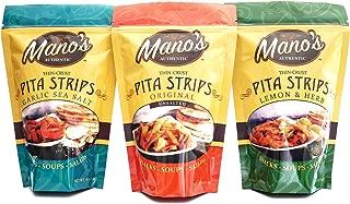 Mano's Authentic Pita Chip Strips Variety Pack - Healthy, Thin, Bite Sized Pita Chips - 12 Pack - Original, Garlic Sea Salt, Lemon & Herb (4 Bags Each)